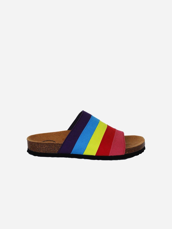 Jerry Vegan Suede Slip-On Sandal | Rainbow