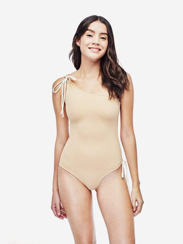Ozero Swimwear Rotorua ECONYL® Asymmetric One Piece Swimsuit | Reversible Dusty Coral/Beige