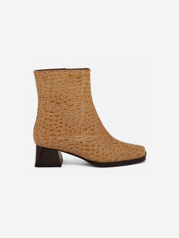 Italia Vegan Patent Leather Ankle Boot   Beige Croc