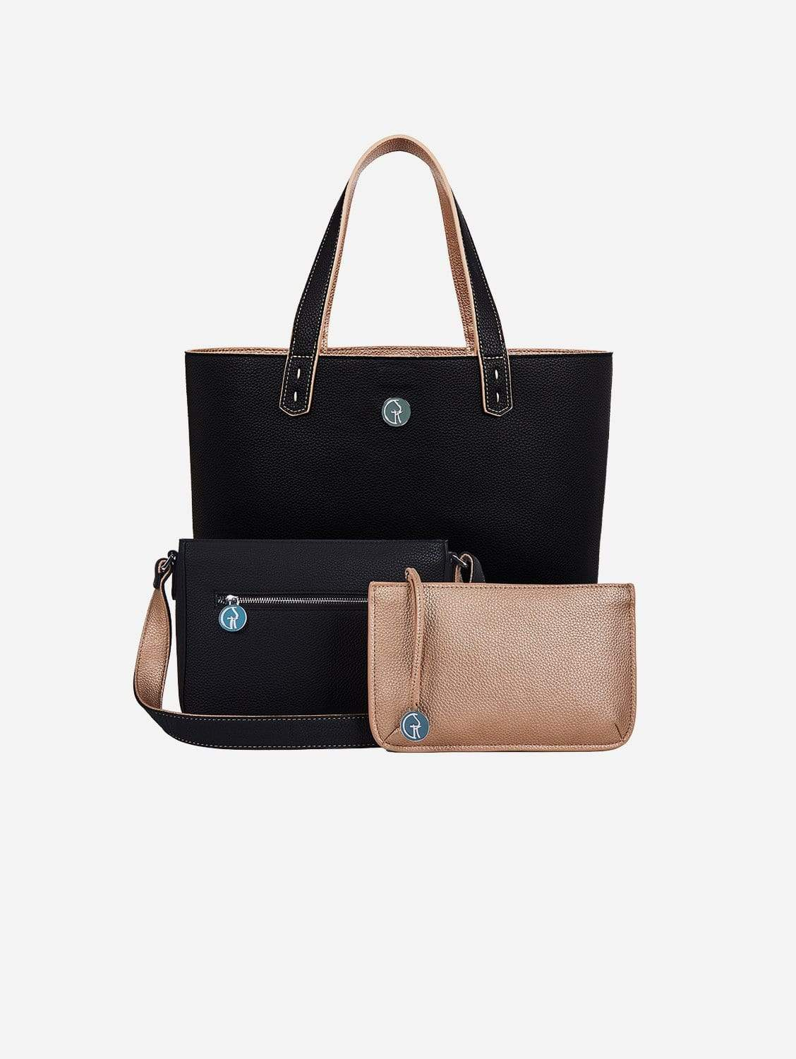 3 Vegan Leather Bags in 1 | Onyx & Rose Gold