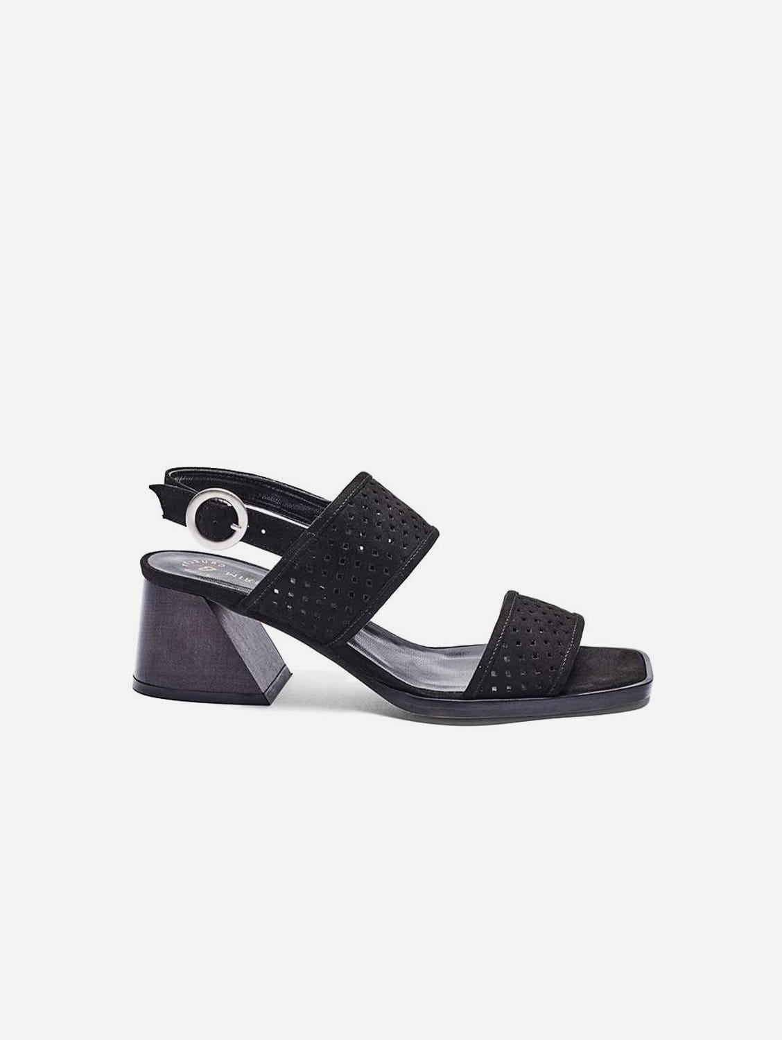 Jessica Recycled Polyester Vegan Suede Heeled Sandal | Black
