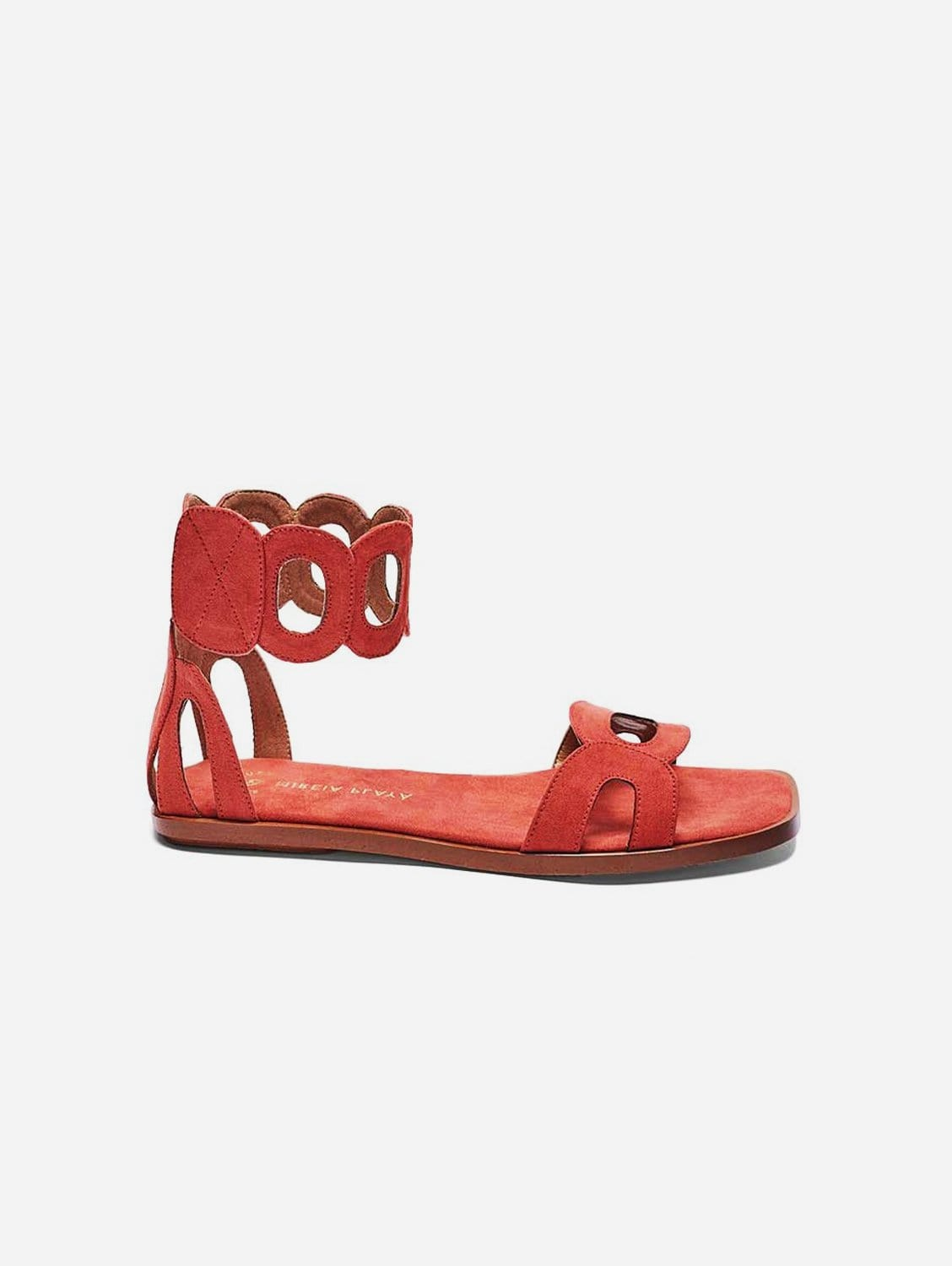 Hortensia Recycled Polyester Vegan Suede Ankle Sandal | Watermelon