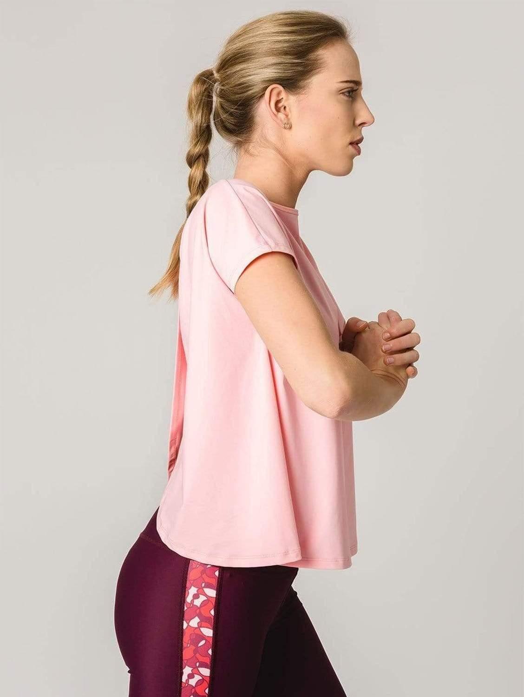 Susan Open Back ECONYL® Regenerated Polyamide T-Shirt | Pink