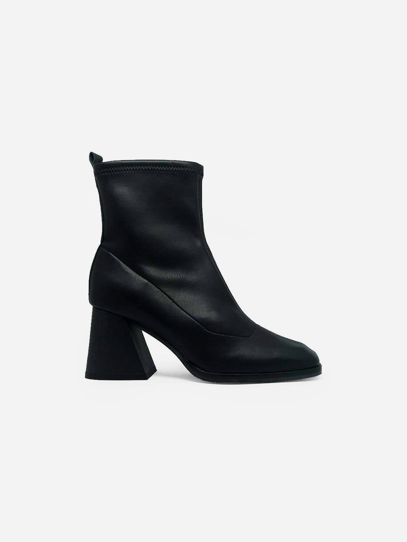 Gabriela Vegan Leather Sock Ankle Boot   Black
