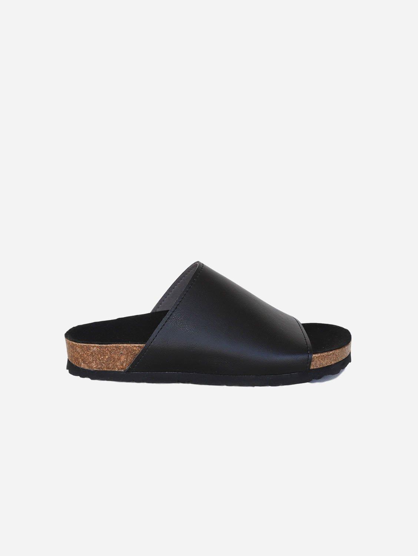 Jenny Vegan Leather Slide-on Sandals | Black