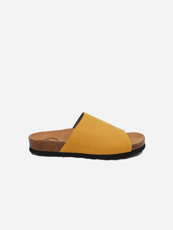 Jenny Vegan Leather Slide-on Sandals | Mustard