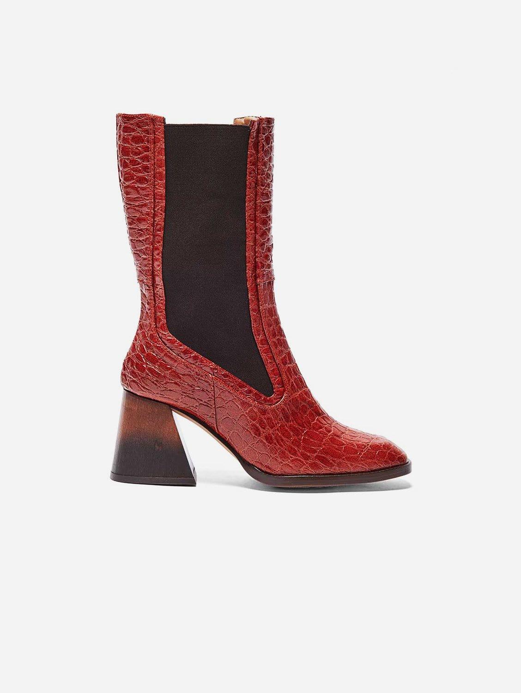 Lola Vegan Patent Leather Boot   Terracotta Croc