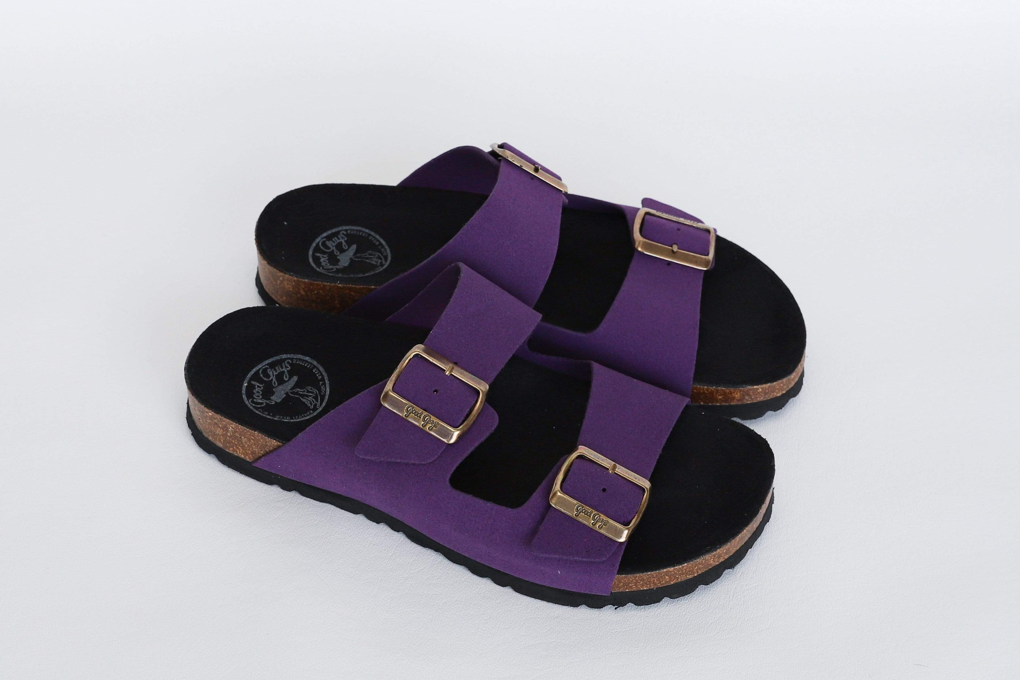 Good Guys Don't Wear Leather Juno Vegan Suede Buckled Slide-On Sandal | Purple