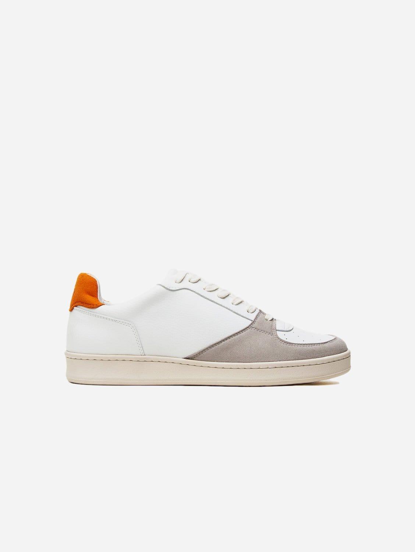 Sustainable Vegan Leather Trainer | White & Orange