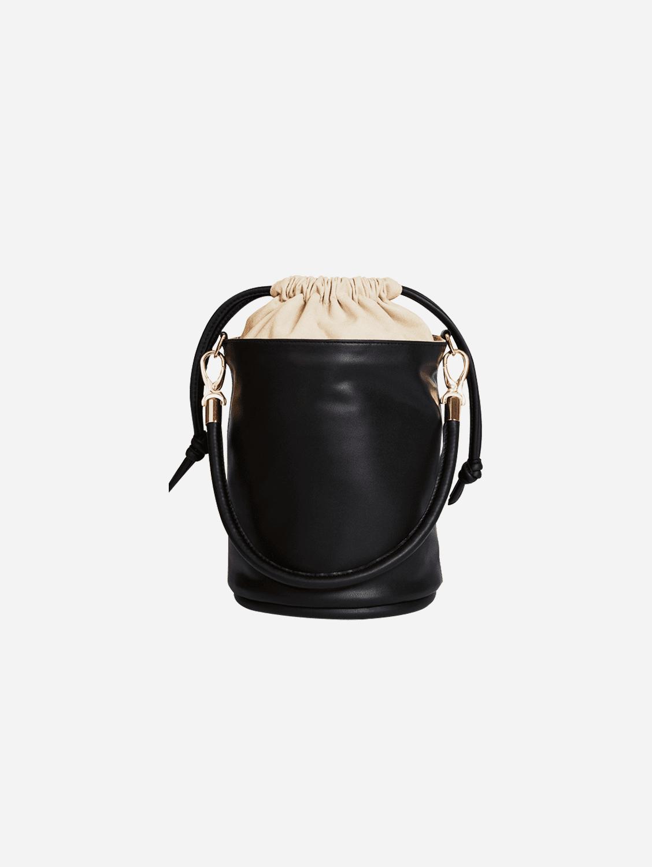 Vegan Leather Mini Bucket Bag | Onyx