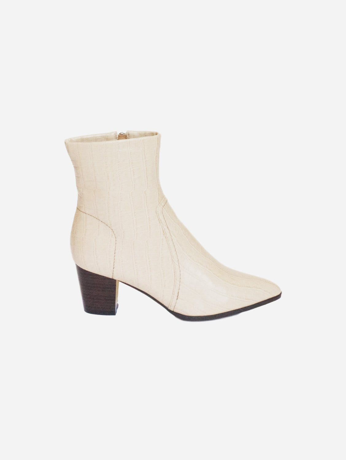 Kali Cowboy Style Up-Cycled Vegan Leather Boot | Cream Croc