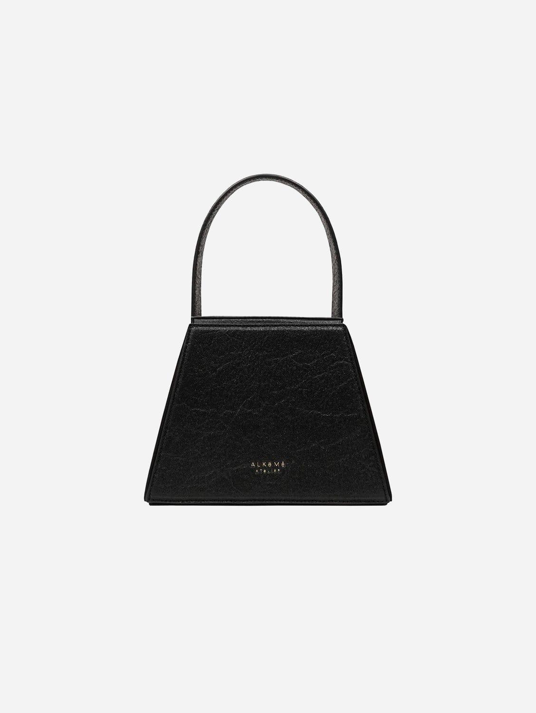 Fire Piñatex Vegan Leather Triangular Crossbody Bag | Black