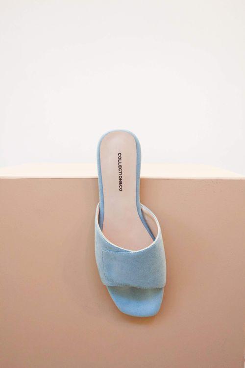 Collection & Co Elia Vegan Suede Cross Over Sandal   Blue