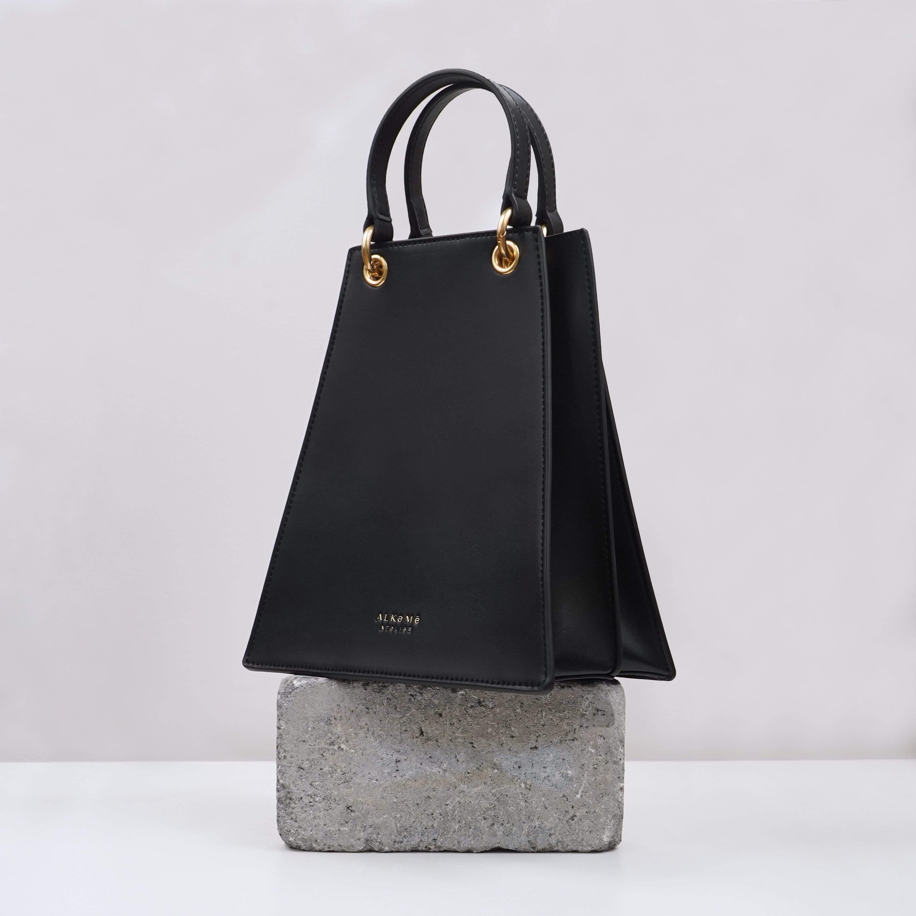 Alkeme Atelier FIRE Vegan Leather Triangular Satchel | Black