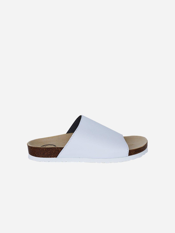 Jenny Apple Leather Vegan Slide-On Sandal   White