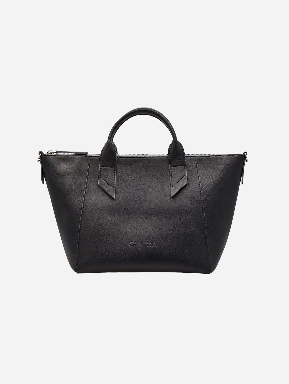 Trotto Vegan Leather Satchel | Black/Grey