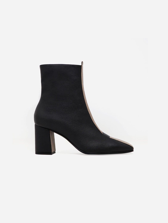 Jayne Apple Leather Vegan Boot | Black & Taupe