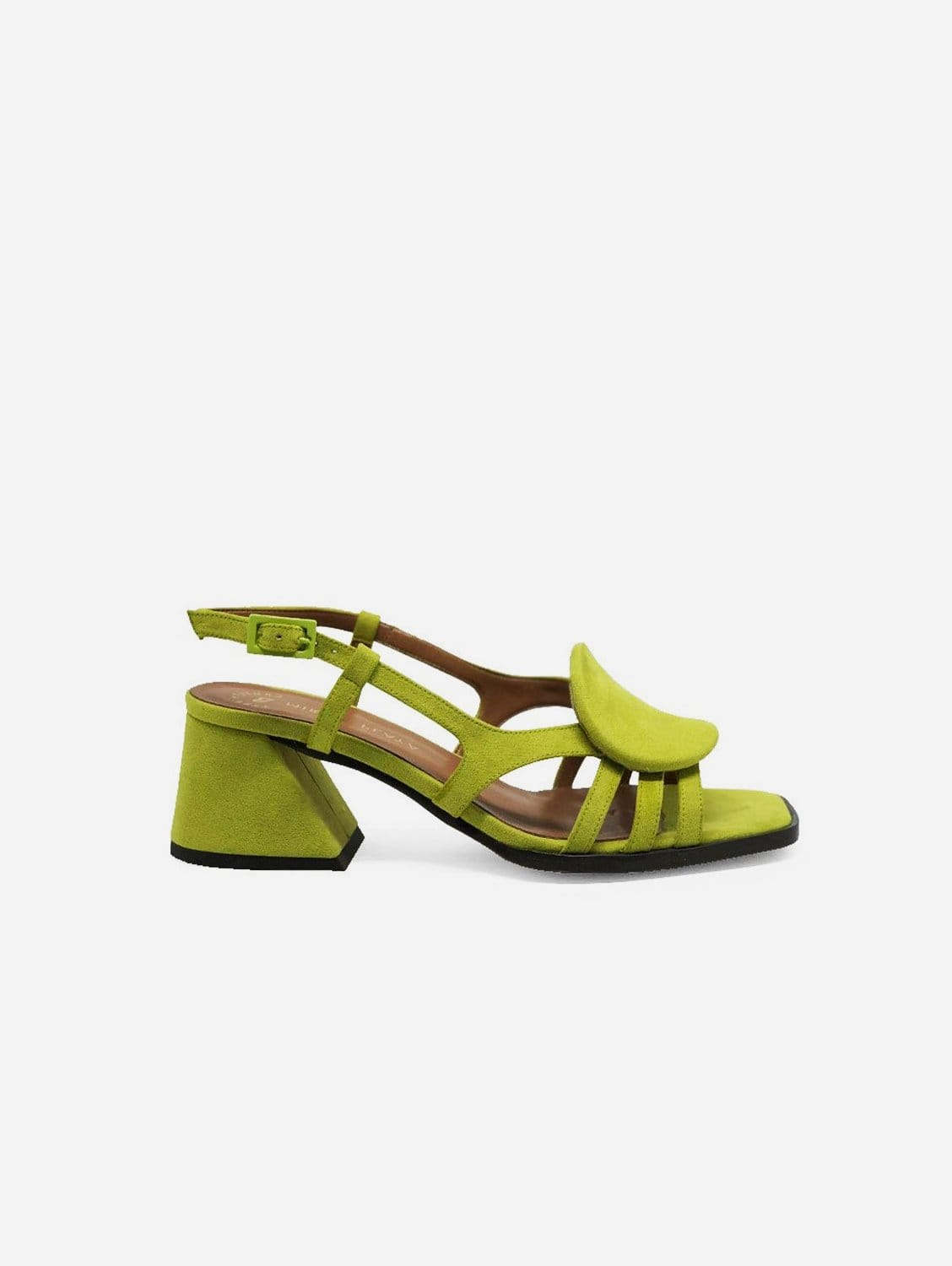 Hiedra Recycled Polyester Vegan Suede Heeled Sandal | Lime Green