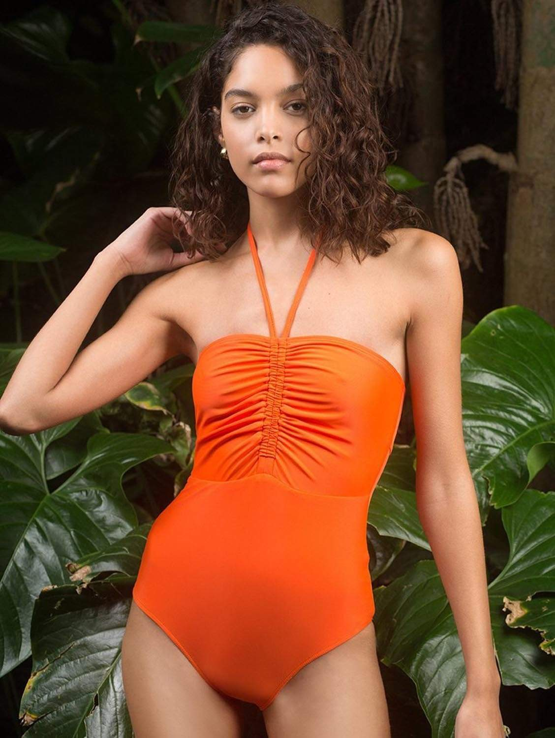 Heather ECONYL® One Piece Swimsuit | Fire Coral