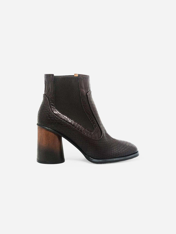 Elisabet Vegan Leather Heeled Ankle Boot   Brown Snake