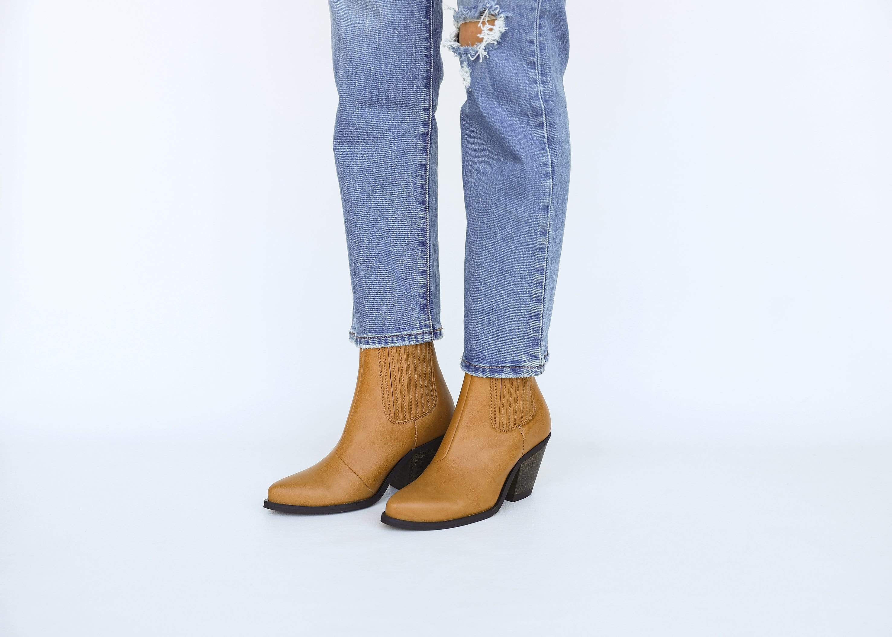 Good Guys Don't Wear Leather Daisy Vegan Leather Heeled Cowboy Boots | Honey