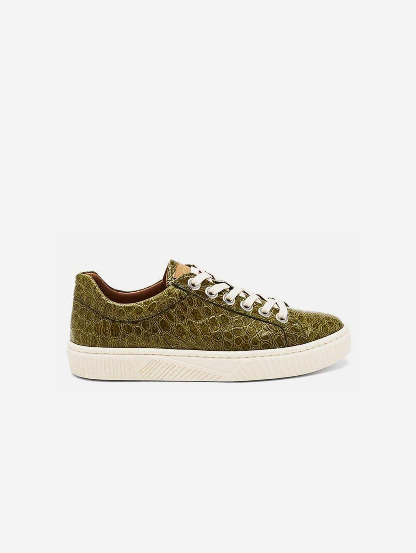 Idris Vegan Patent Leather Trainer | Green Croc