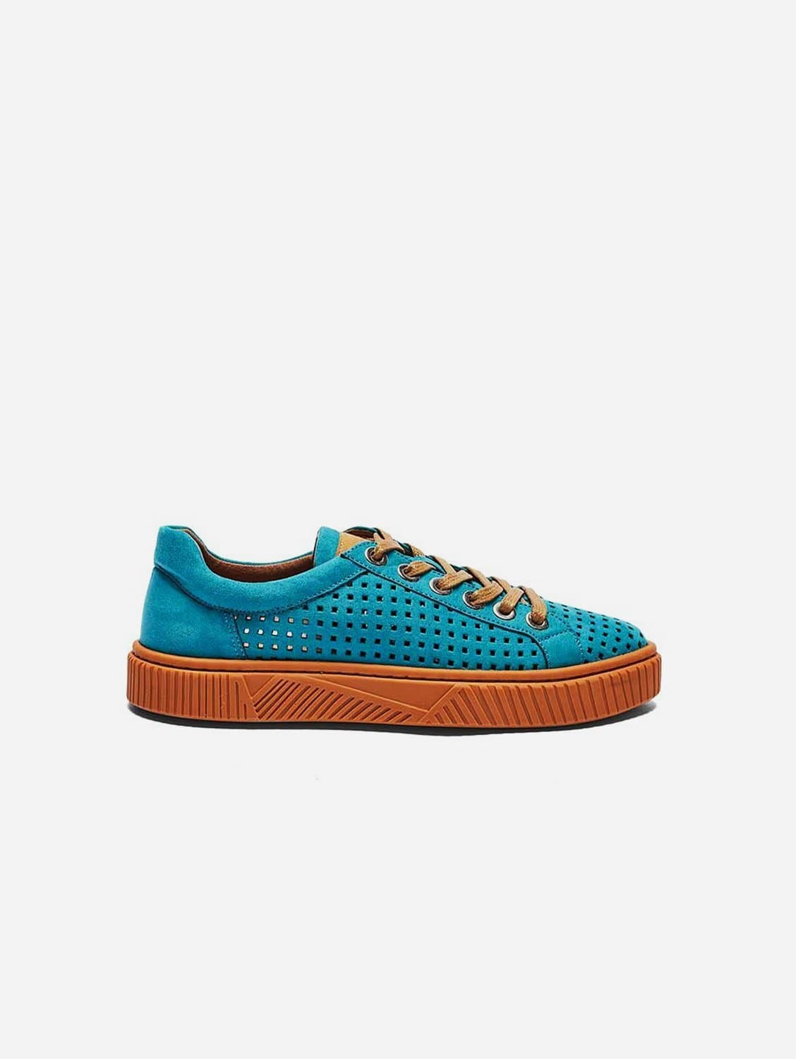 Jolie Recycled Polyester Vegan Suede Trainers | Aquamarine