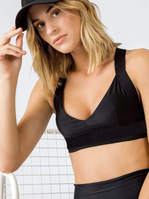 Charo ECONYL® Recycled Fabric Sports Bra Top | Black