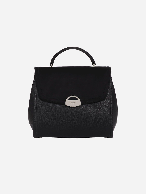 Paname Oxymore AppleSkin Vegan Leather & Microsuede Handbag | Black