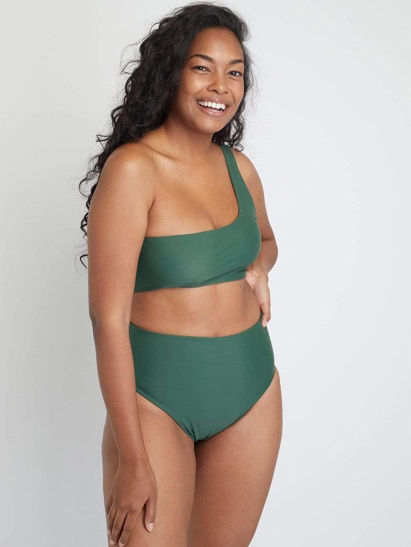 Ladoga ECONYL® High Waisted Bikini Bottom | Forest Green