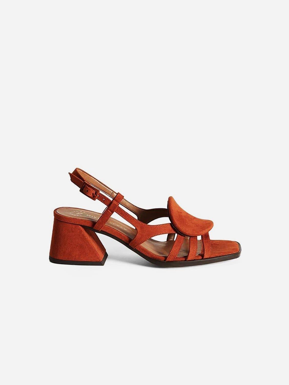 Hiedra Recycled Polyester Vegan Suede Heeled Sandal | Brick Red