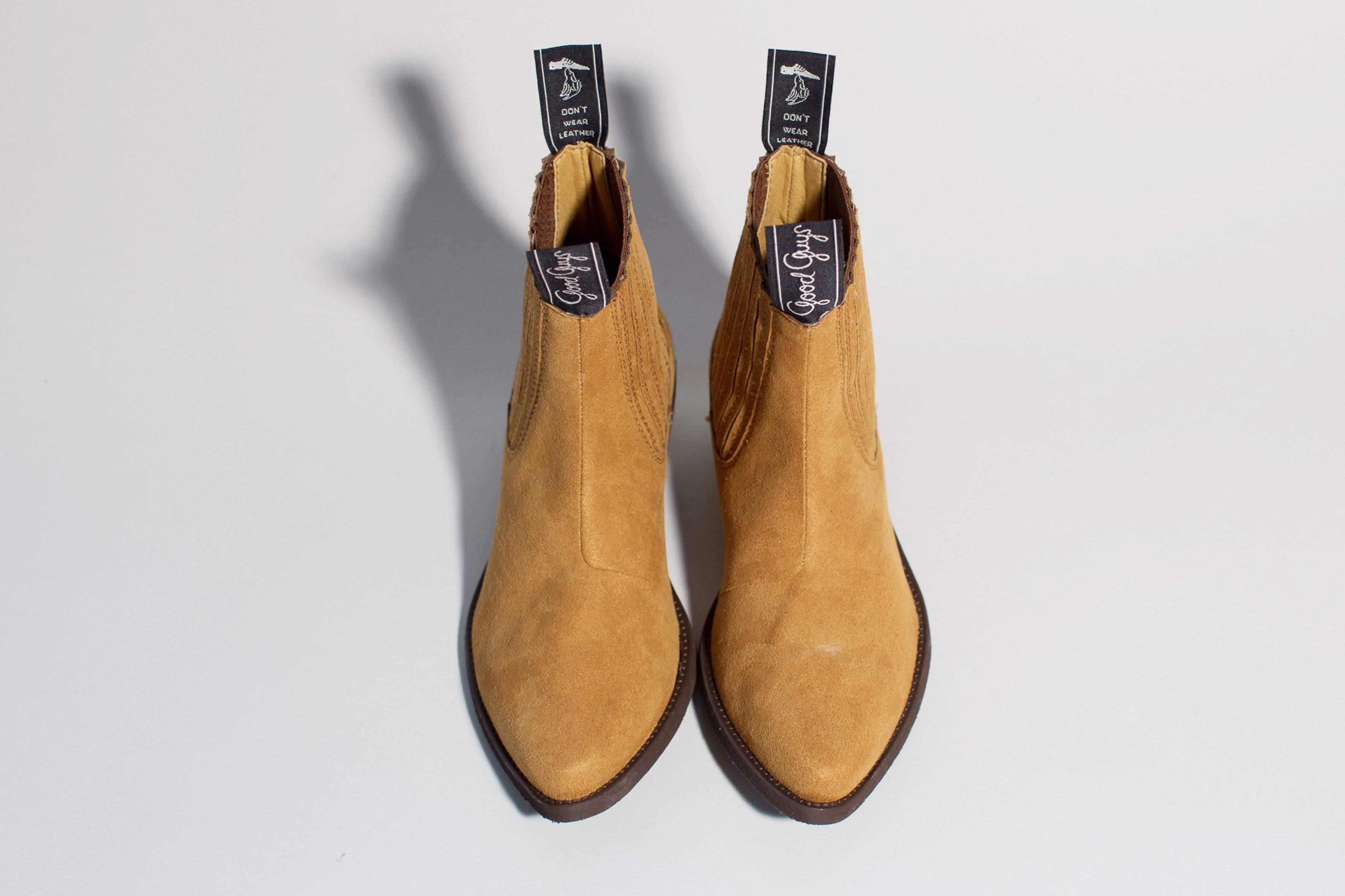 Good Guys Don't Wear Leather Duke Vegan Suede Cowboy Boots   Mustard