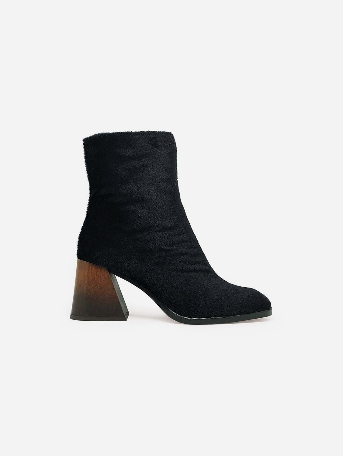 Georgina Recycled Polyester Vegan Ankle Boot   Black Pony Hair Effect
