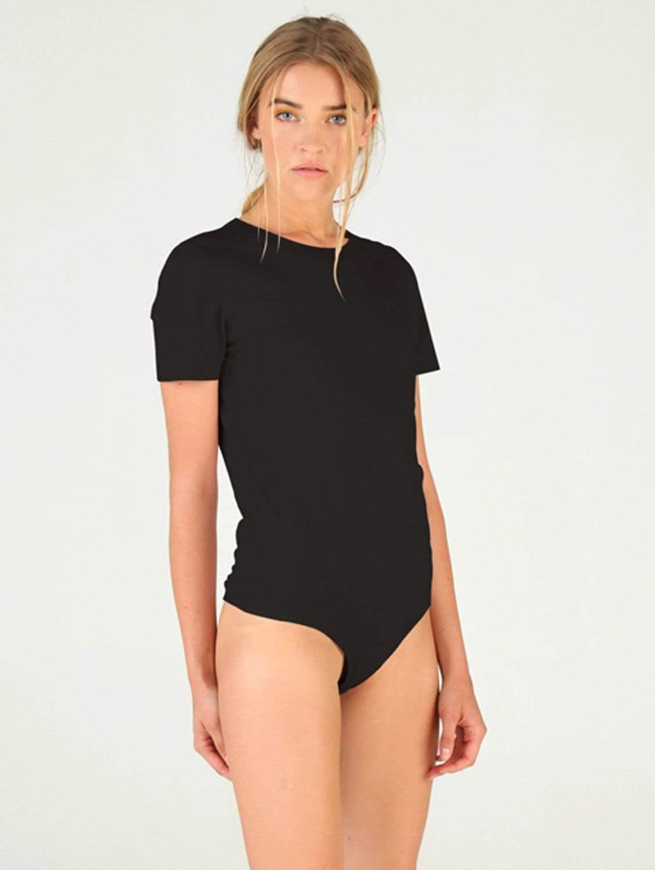 Alice Organic Cotton Crew Neck Tee Bodysuit | Black