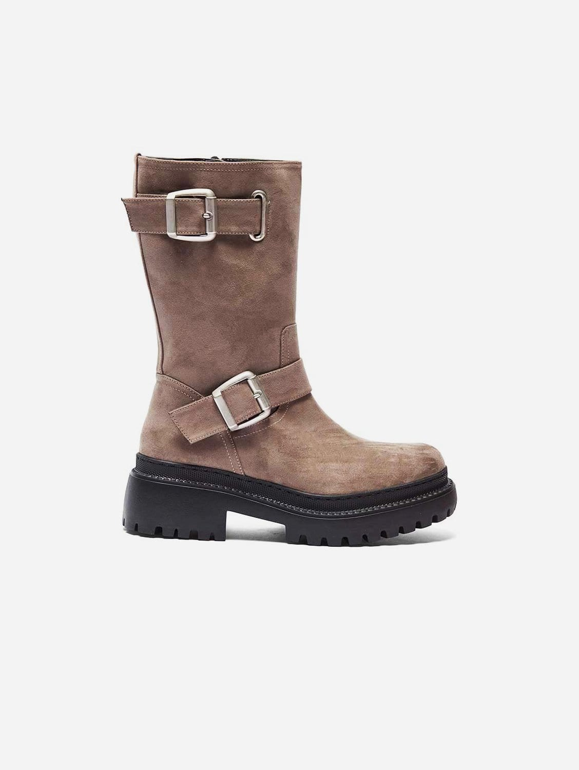 Lara Recycled Polyester Vegan Suede Biker Boots   Taupe