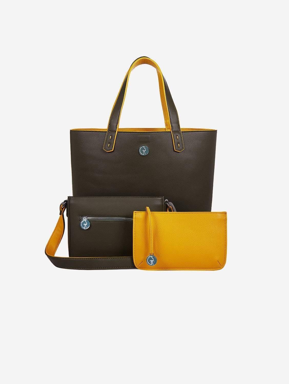 3 Vegan Leather Bags in 1 | Green Pepper & Mustard