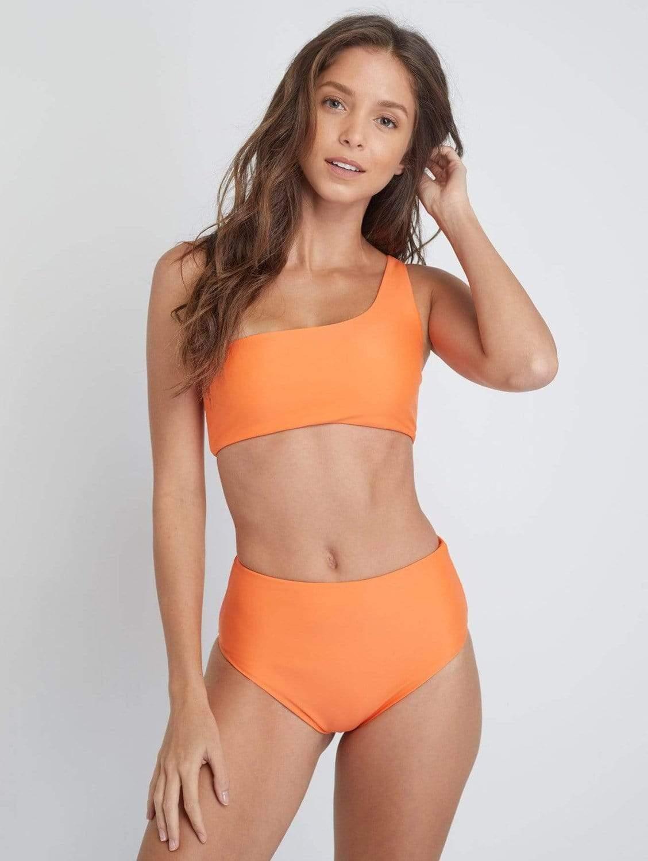Ladoga ECONYL® High Waisted Bikini Bottom | Papaya