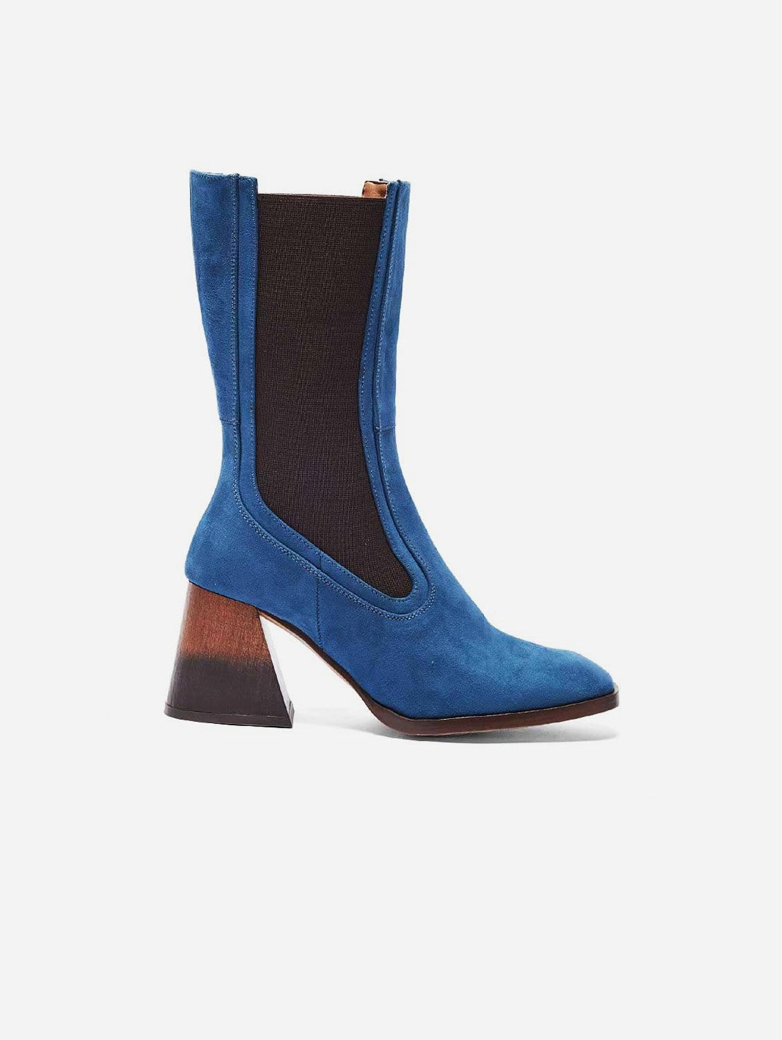 Lola Recycled Polyester Vegan Suede Boots   Blue