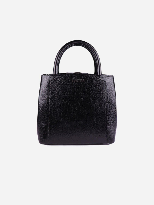 Nina Recycled Nylon Vegan Leather Mini Handbag | Glossy Black