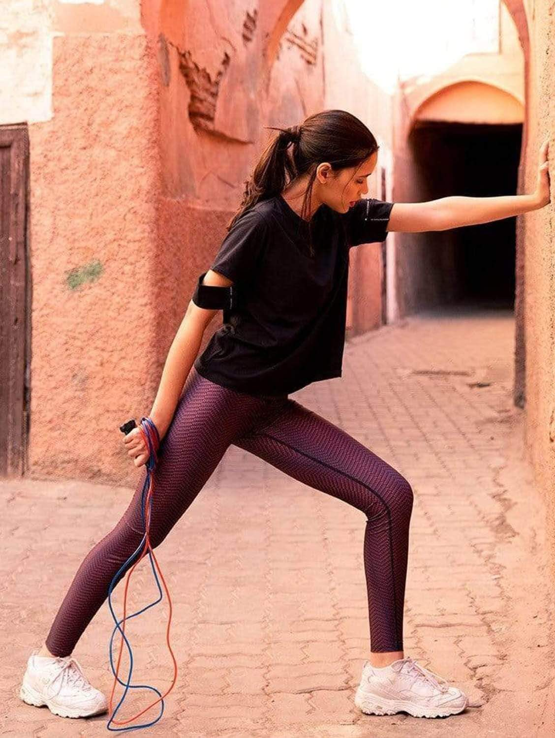 Alou Marrakech Recycled Polyester High-Waisted Leggings | Purple Print