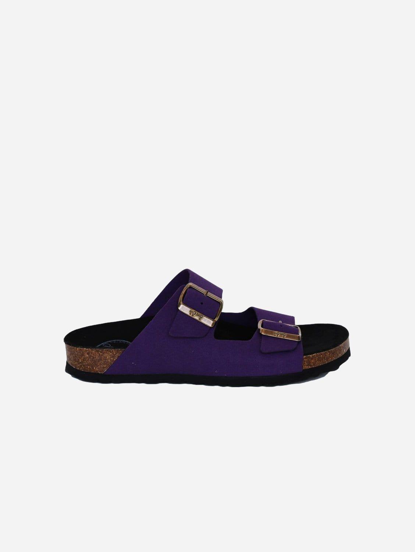 Juno Vegan Suede Buckled Slide-On Sandal | Purple