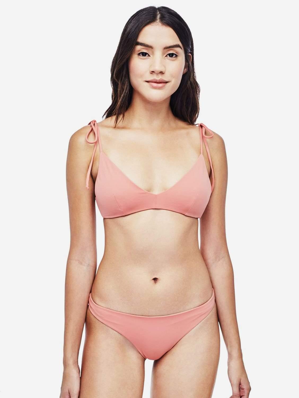 Como ECONYL® Tie-Shoulder Bikini Top   Reversible Dusty Coral/Cloud