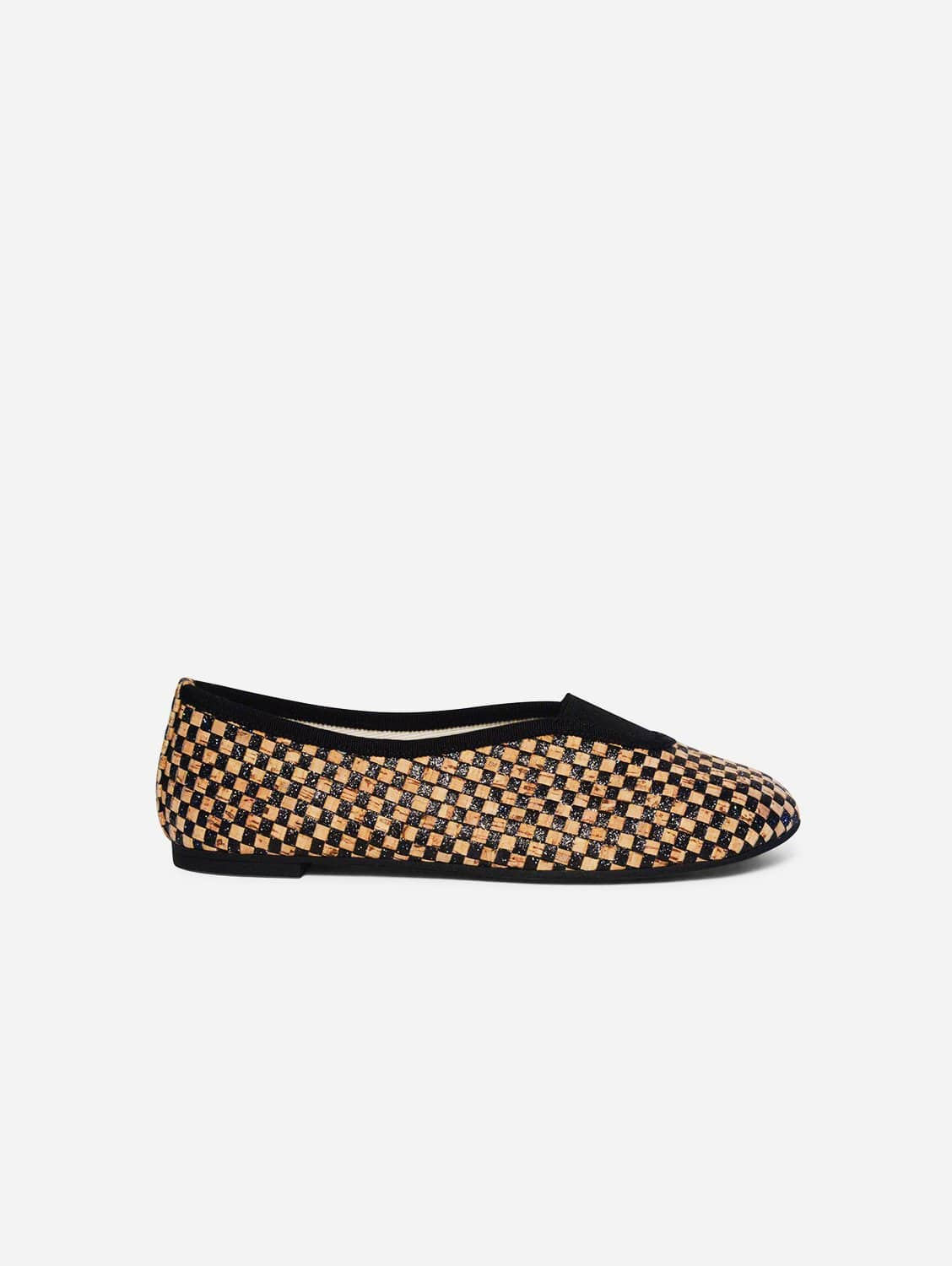 Rhythmic Vegan Ballet Flats | Checkered Glittery Black Cork