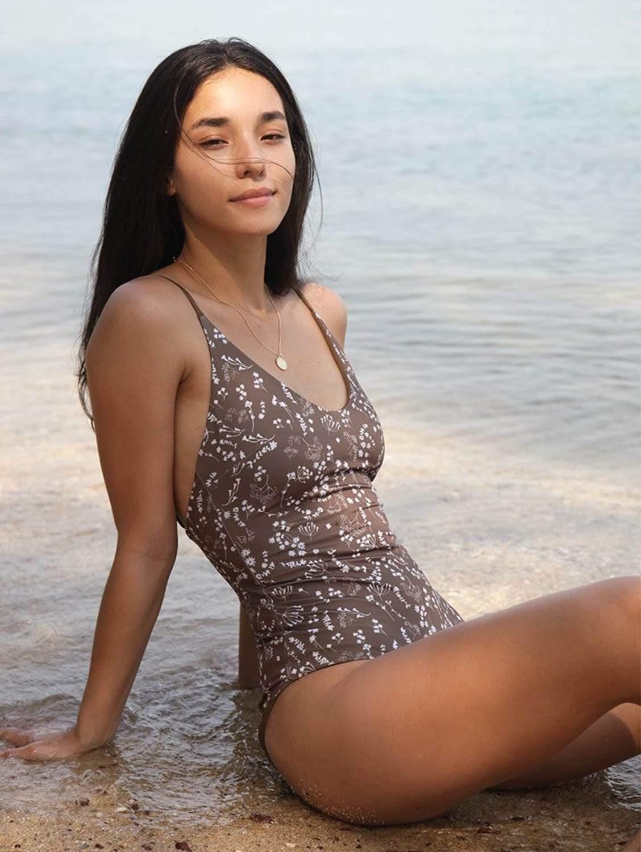 Seliger ECONYL® One Piece Swimsuit   Reversible Russian Summer Print/Mocha