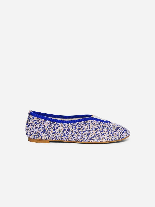 Rhythmic Vegan Ballet Flats| Royal Blue, Pale Pink & Gold Tweed