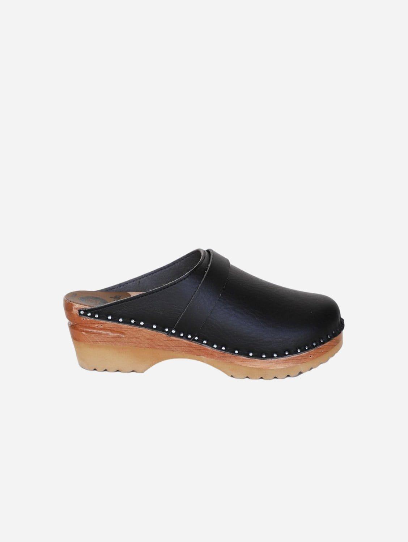 Da Vinci Vegan Leather Clogs   Black