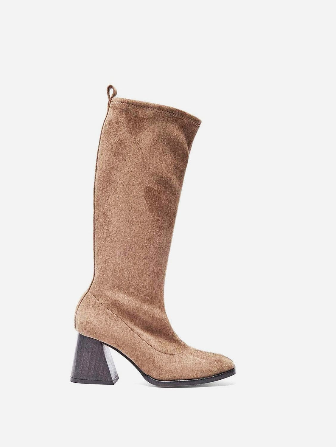 Luz Recycled Polyester Vegan Suede Knee Boots   Taupe