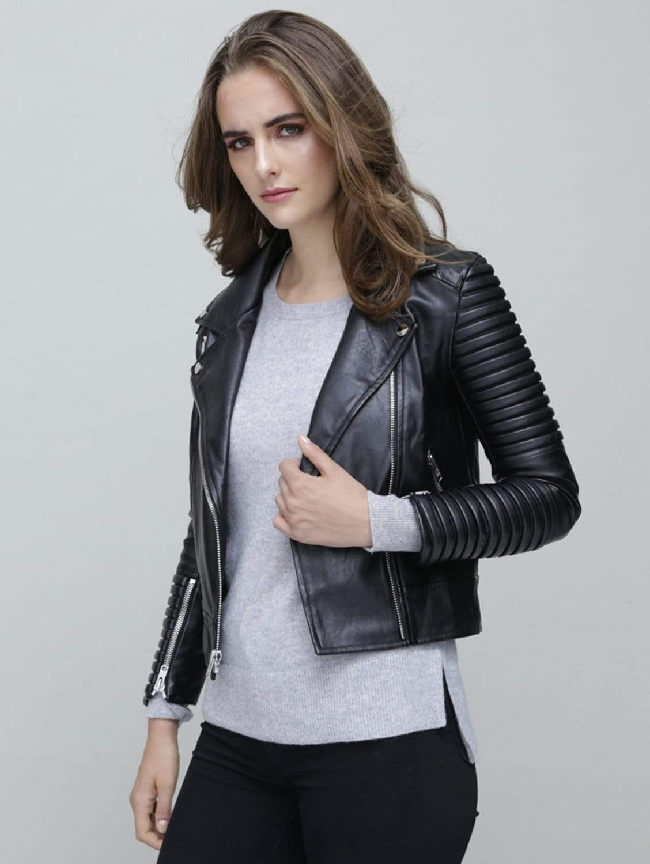 Moto I Vegan Leather Quilted Biker Jacket | Black
