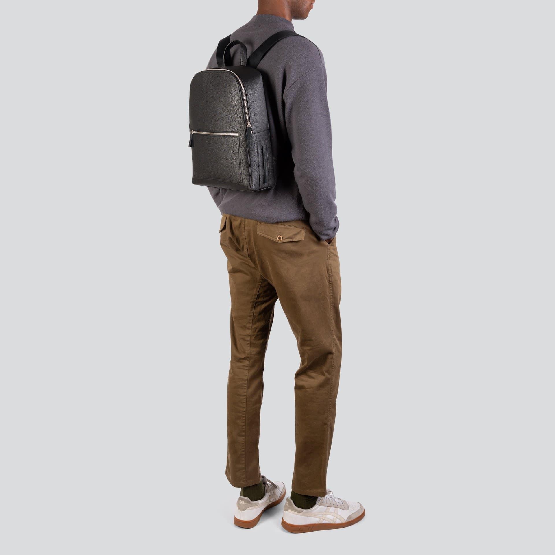 Luxtra Farrell Apple Leather Vegan Backpack   Black