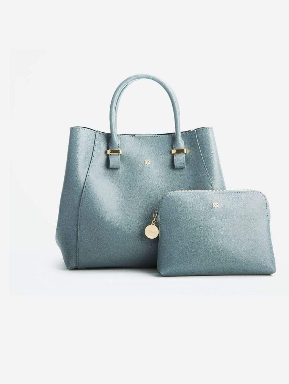Jane Vegan Leather Satchel   Blue Grey